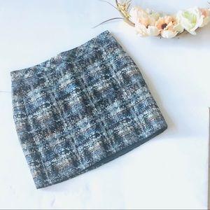J.Crew Gilded Tweed Silk Woven Mini Skirt Size 00
